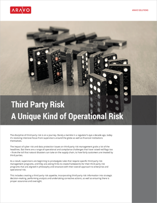 Aravo White Paper -- Third Party Risk - A Unique Kind of Operational Risk_Page_cover.png