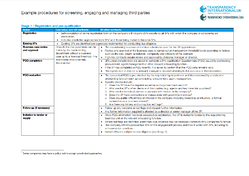 Example procedures for screening, engaging and managing third parties