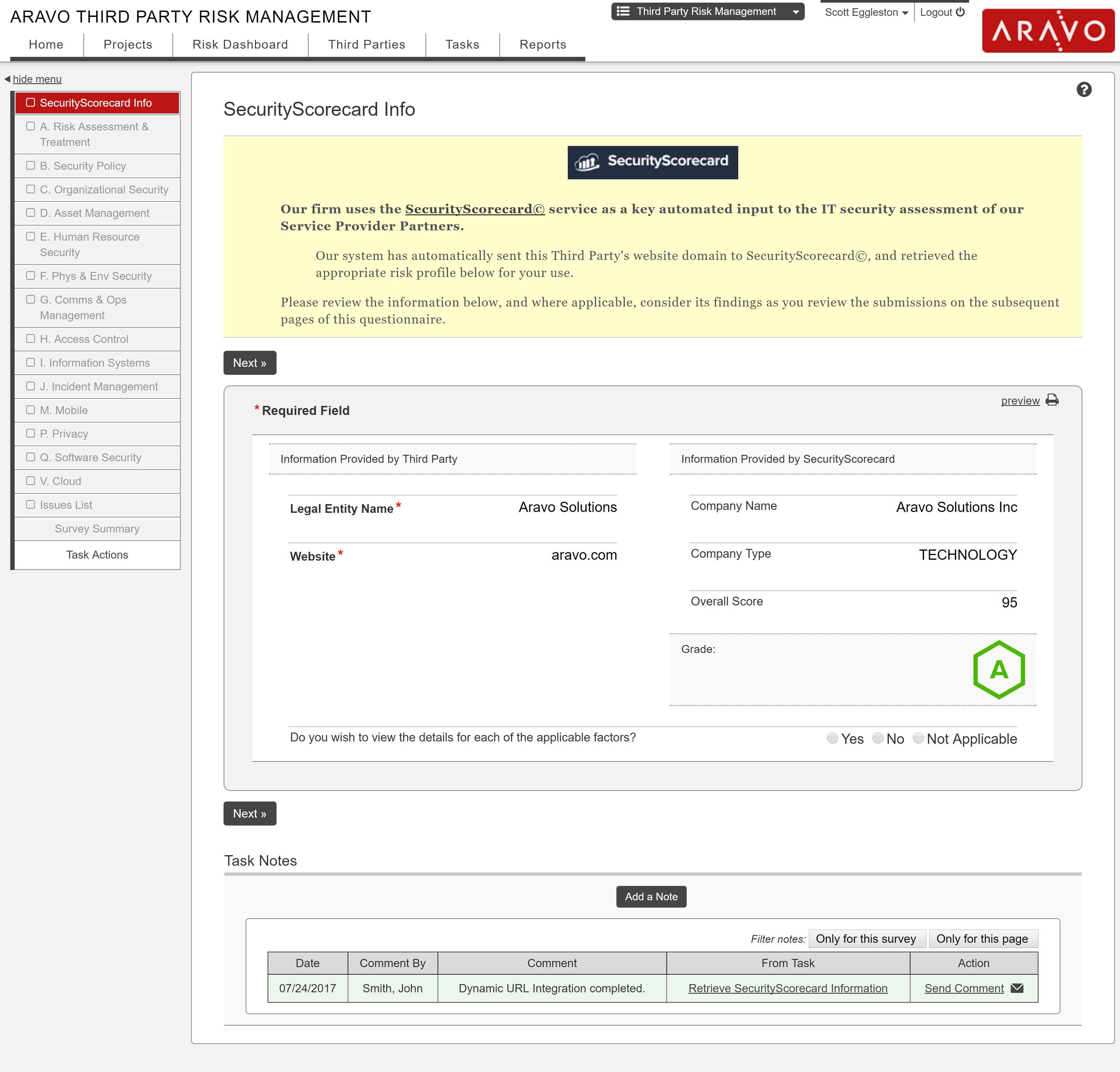 SecurityScorecard Aravo Integration #1